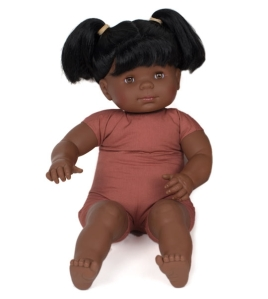 afrikānas 60cm plumpera bērnu lellīte ar matiem